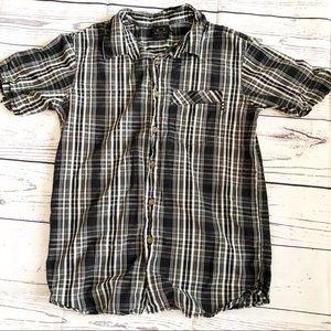 OAKLEY l Small men's black plaid button up shirt